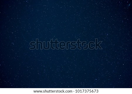 Long exposure clear night sky with shiny stars for background. #1017375673
