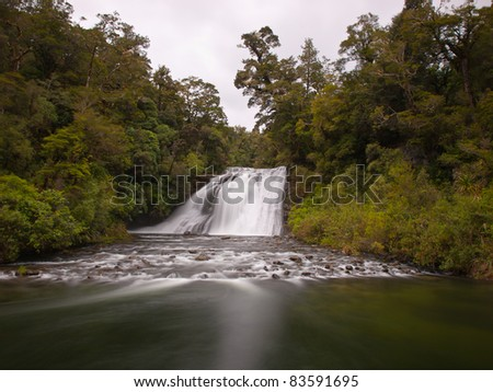 long exposure forest waterfall