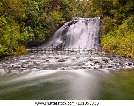 Long exposure image of a waterfall in a lush rainforest in new zealand