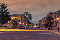 long exposure light trail in main street   of Saint Charles historic district, Missouri, USA
