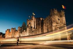 long exposure lights at Gravensteen castle at night, in Gent, Belgium