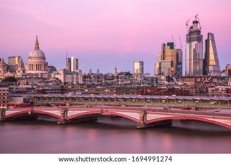 Long Exposure, London cityscape with Blackfriars bridge at sunset