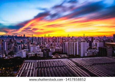Long Exposure (2 minutes) Image of a Beautiful Colored Sky During Sunset over Belo Horizonte. Location: Viewpoint in Professor Amilcar Vianna Martins Park, Cruzeiro District