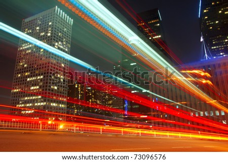 Long exposure of a bus going through downtown Los Angeles, California.