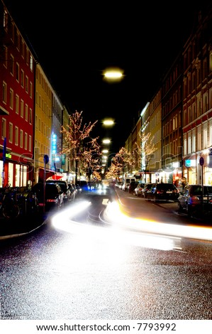 Long exposure of a city street in Munich, Germany at christmas time