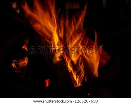 Long exposure of a fire place, texture of fire, flame details, nightshot #1265207650