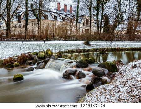 Long exposure of a small river in the park of Kromlau in Saxony, Germany #1258167124