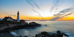 Long exposure of a sunrise over Maine lighthouse