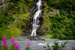 Long Exposure of Birdal Veil Falls waterfall in Alaska United St