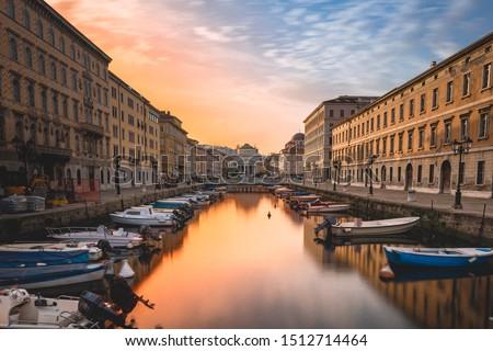 Long exposure of Canal Grande of Trieste, Italy in wonderful sunrise