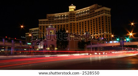 Long Exposure of Casino at Night in Las Vegas with Traffic