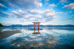Long exposure of Floating Torii gate of Itsukushima Shrine at Miyajima, Hiroshima (gate sign reads Itsukushima Shrine)