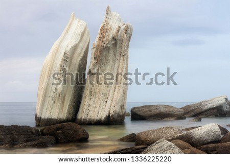 Long exposure of legendary Siren rocks at Foca Izmir Turkey Stok fotoğraf ©