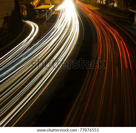 Long exposure of night time rush hour.
