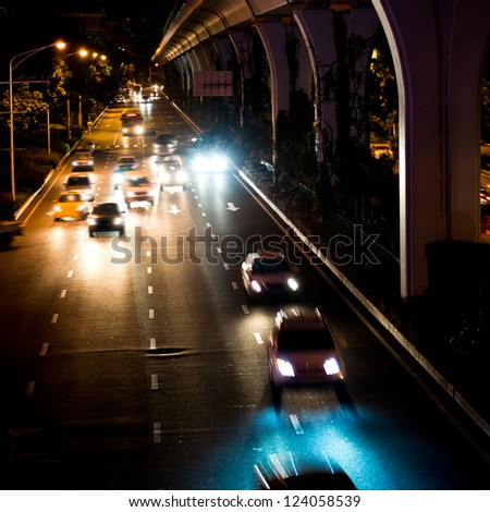 Long exposure of night traffic. motion blur