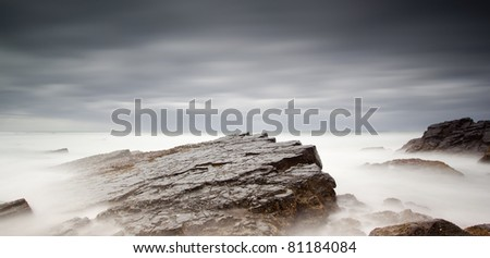 long exposure of sea and rocks #81184084