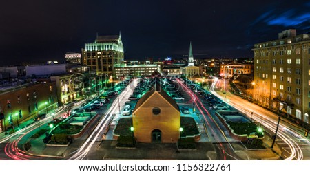 Long Exposure of the Downtown Greenville, South Carolina, USA Skyline at Night. #1156322764