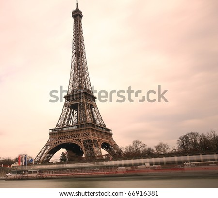 Long exposure of The Eiffel Tower in Paris, France. - stock photo