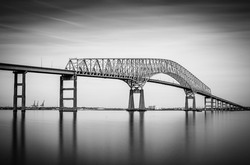 Long exposure of the Francis Scott Key Bridge from Fort Armistead Park, Maryland.