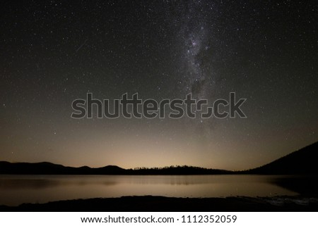 Long exposure of the milky way taken from a lake #1112352059