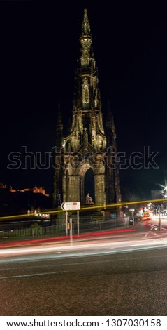 Long exposure of the Scott Monument. Pic taken during the night, in Princes Street, painted with the cars's light (Edinburgh, Scotland).