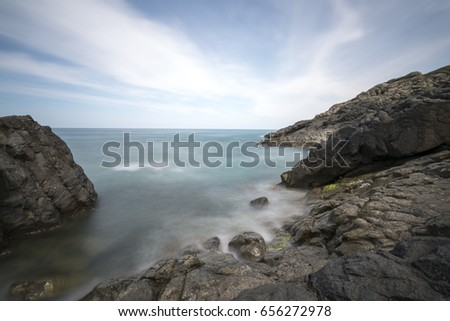 Long exposure of the sea and rocks. #656272978