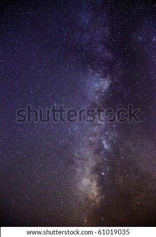 Long exposure of the southern skies clearly showing the Milky Way and the dark nebula or cloud that eclipses most of the light emanating from the centre of our galaxy