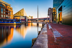 Long exposure of the Waterfront Promenade and the National Aquarium in Baltimore, Maryland.