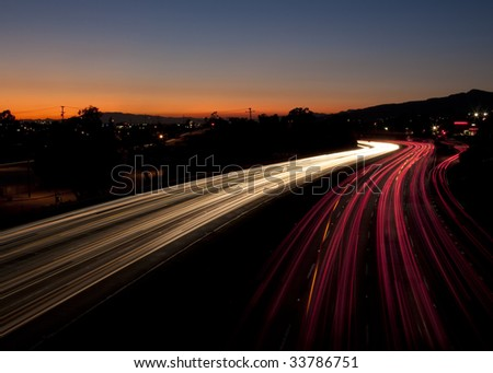 Long Exposure of Traffic at Sunset