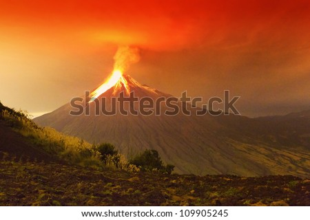 Long Exposure Of Tungurahua Volcano Exploding In The Night Of 29 11 2011 Ecuador Shot With Canon Eos Mark Iv Converted From Raw Large Amount Of Noise Visible At Full Size  #109905245