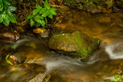 Long exposure of water in small stream flowing around large moss covered stone.