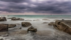 long exposure on the Breton coast