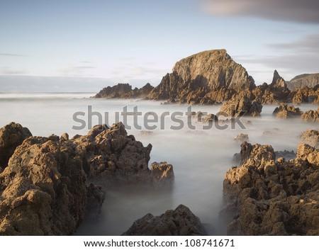 Long exposure on the coast. Photo taken on the coast of Galicia, Spain