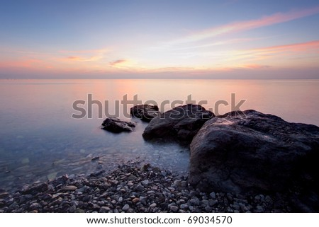 Long exposure photo of beach in the evening