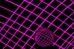 Long exposure photograph of neon pink colour in a criss-cross parallel lines pattern against a black background with reflections in a glass orb. Light painting photography.