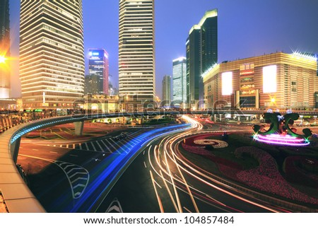 Long exposure  photographs of urban ring road viaduct Shanghai night scene