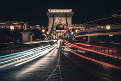 Long exposure shot of Budapest Chain Bridge