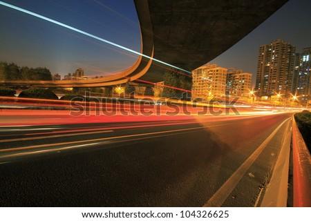 Long exposure shot of Highway viaduct vehicle night scene