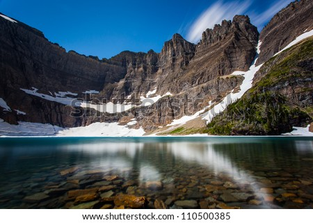 Long exposure shot of iceberg lake, Glacier national park, montana