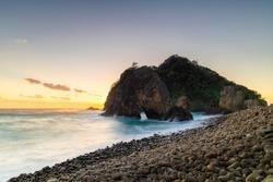 Long exposure shot of sea stacks by the beach in Izu Peninsula, Shizuoka Prefecture, Japan
