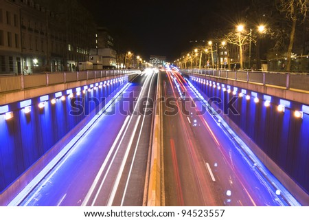 Long exposure shot of traffic in Brussels