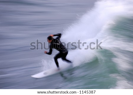 Long exposure showing the speed and intensity of the surf and the surfer. Photo taken along the central coast of California