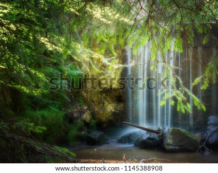 Long exposure small waterfall, Italy, fairytale lighting, Orton effect. #1145388908