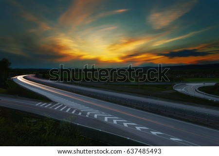 long exposure sunset over a...