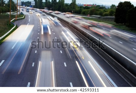 long exposure traffic shots in motorway #42593311