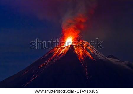 Long exposure, Tungurahua volcano with blue skyes #114918106