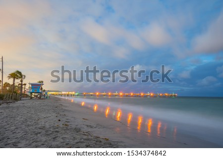 Long exposure twilight photo Dania Beach fishing pier Zdjęcia stock ©