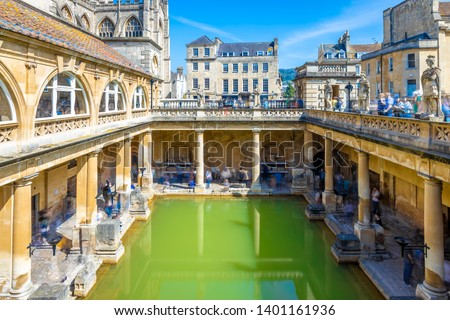 Long exposure view of roman bath in Bath, England