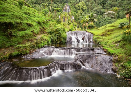 Shutterstock Long exposure view of the waterfall near the Santa Rosa Thermal Spa in Santa Rosa de Cabal in Colombia.