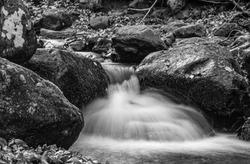 Long exposure waterfalls near Dragalevtsi, Vitosha, Bulgaria. Black and white ploto.